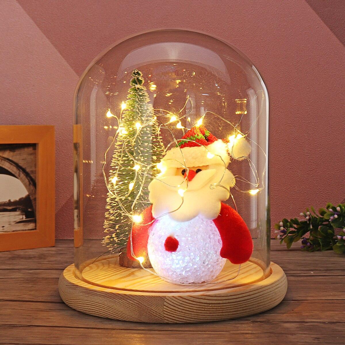 все цены на 1Set Mini Christmas Tree Lovely Santaclaus Glass Dome Bell Jar Christmas Glass Dome Wood Base Light Valentine Gift Home Decor онлайн