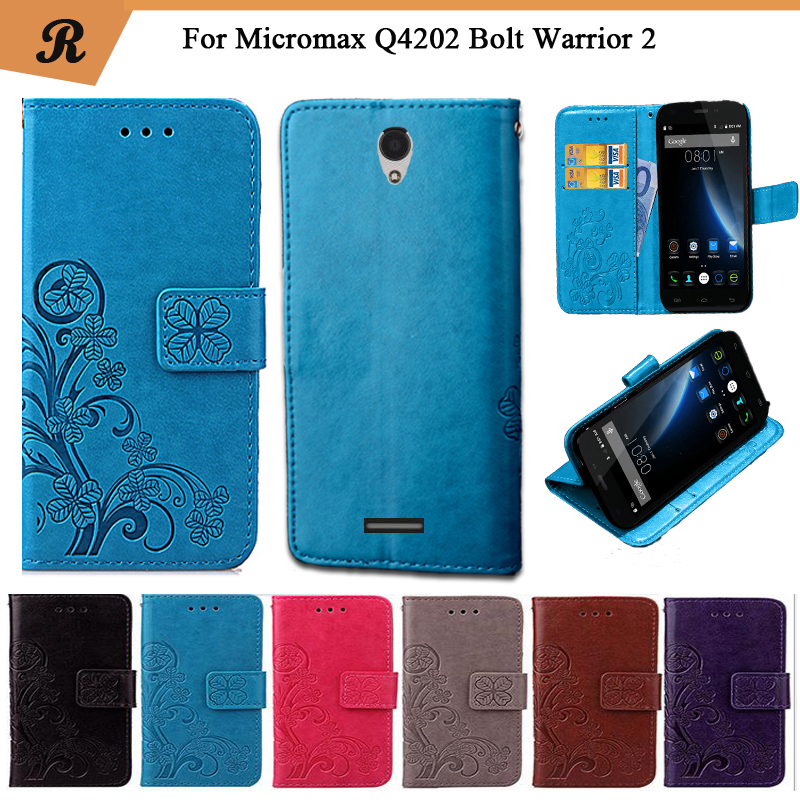 Newest For Micromax Q4202 Bolt Warrior 2 Factory Price Luxury Cool Printed Flower Special PU Leather Flip case with Strap