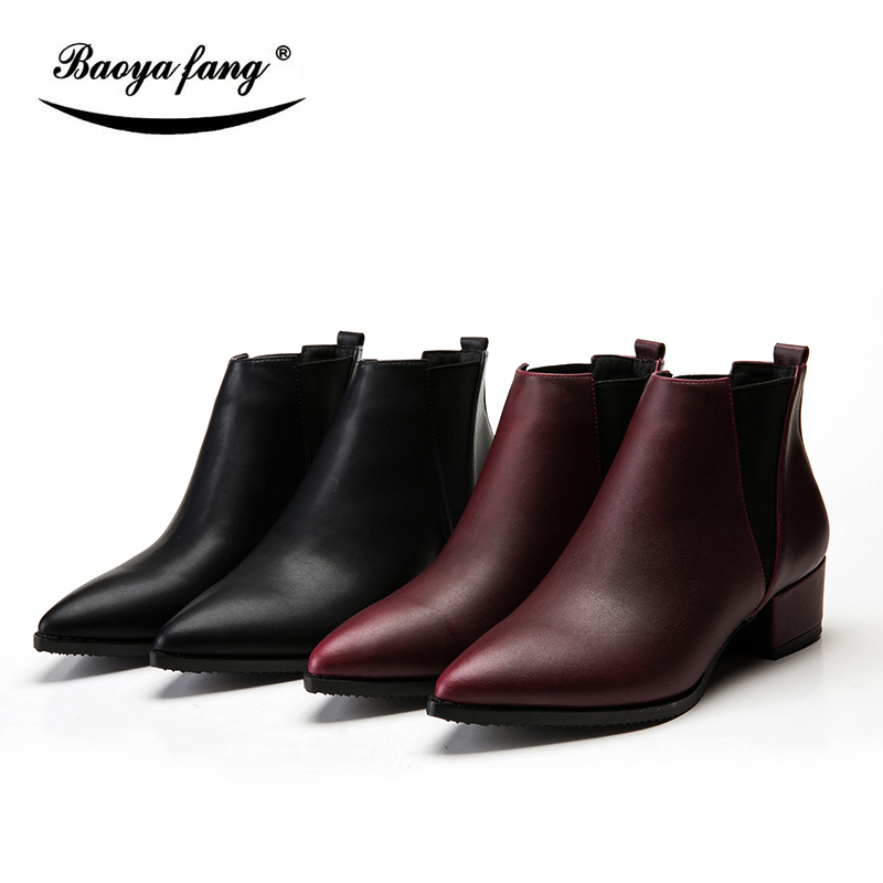 BaoYaFang New arrival Winter Boots leather ankle boots for font b women b font thick heel