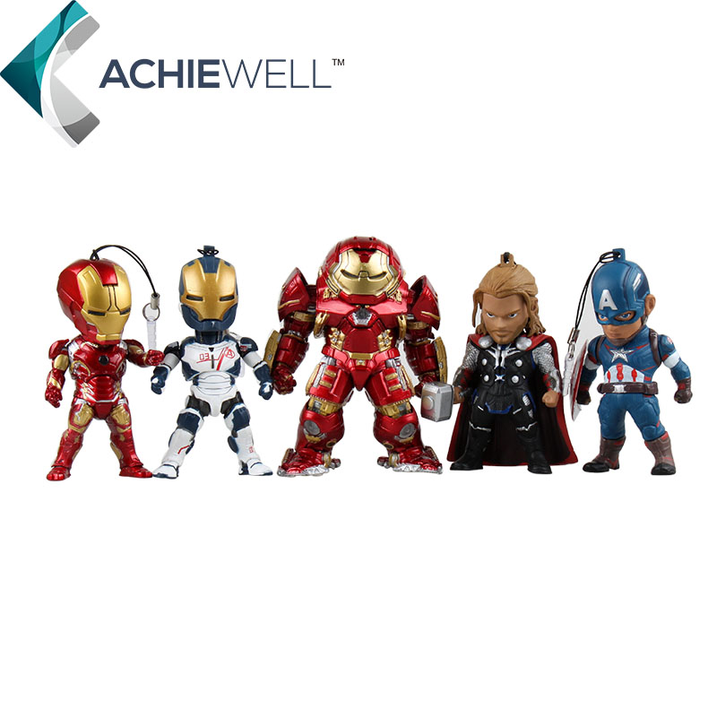 Maverl Avengers Iron Man 3 Captain America Hulk Buster Thor Flashing Action Figures Good Qualitiy Model Kid Toys Gift Desk Doll  kids nations avengers age of ultron hulk buster iron man thor captain america q version action figures 5pcs set kb0383