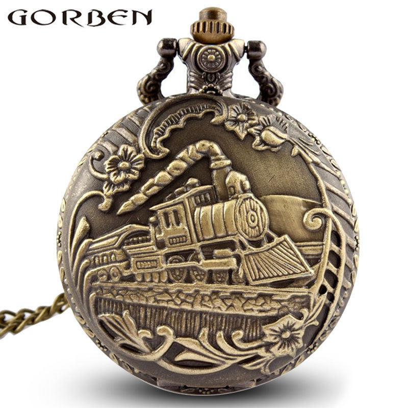Vintage Steampunk Carved Engraving Steam Train Quartz Pocket Watch With Chain Retro Bronze Necklace Pendant Clock Women Men Gift