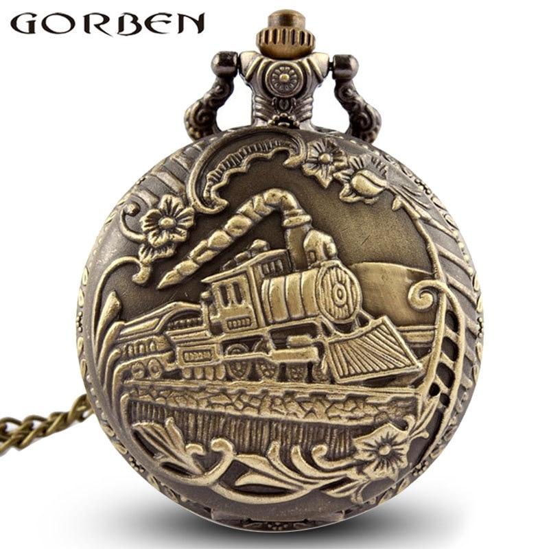 Vintage Steampunk Carved Engraving Steam Train Quartz Pocket Watch With Chain Retro Bronze Necklace Pendant Clock Women Men Gift