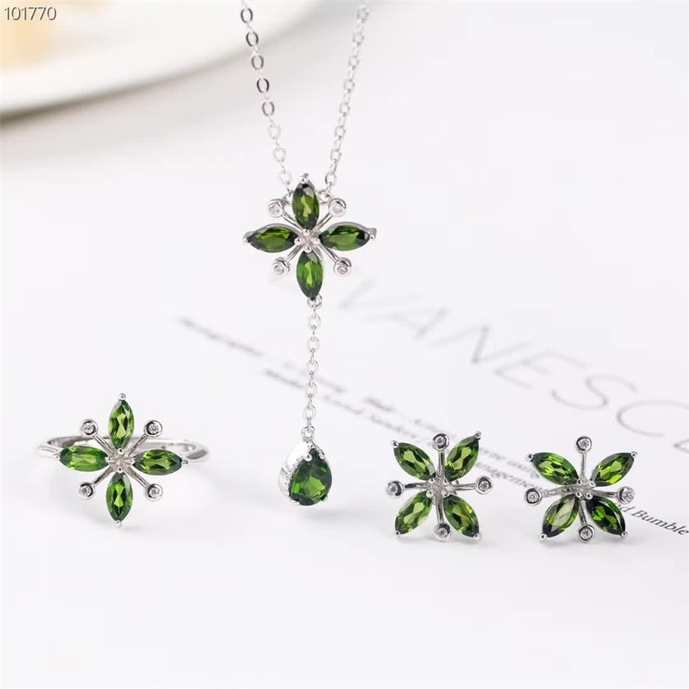 wholesale new-designe 925 sterling silver natural diopside ring pendant necklace earring jewelry set for women