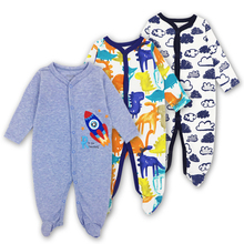 Купить с кэшбэком 3 Pcs/lot Baby Romper Long Sleeves 100% Cotton Comfortable Baby Pajamas Cartoon Printed Newborn Baby Boy Girl Clothes