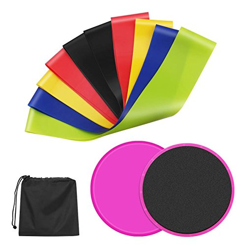 2 Core Sliders Gliding Disk+5 Exercise Resistance Bands ,latex workout bands excercise equipment for workout training fitness strength training