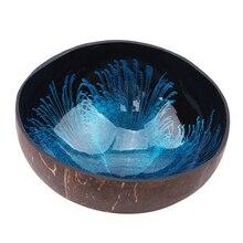 Креативная натурная чашка в виде кокоса чернила креативный орнамент чаша для хранения экологичный суп салат лапша секция для хранения чашка в виде кокоса