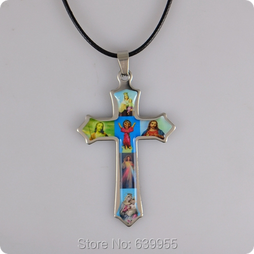 Holy Icon Cross stainless steel Pendant Necklace Jesus ...