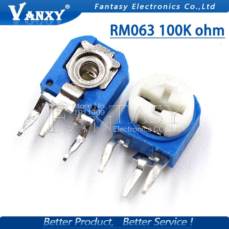 20pcs RM063 100k Ohm Blue And White Can Be Adjusted Resistance Potentiometer 104