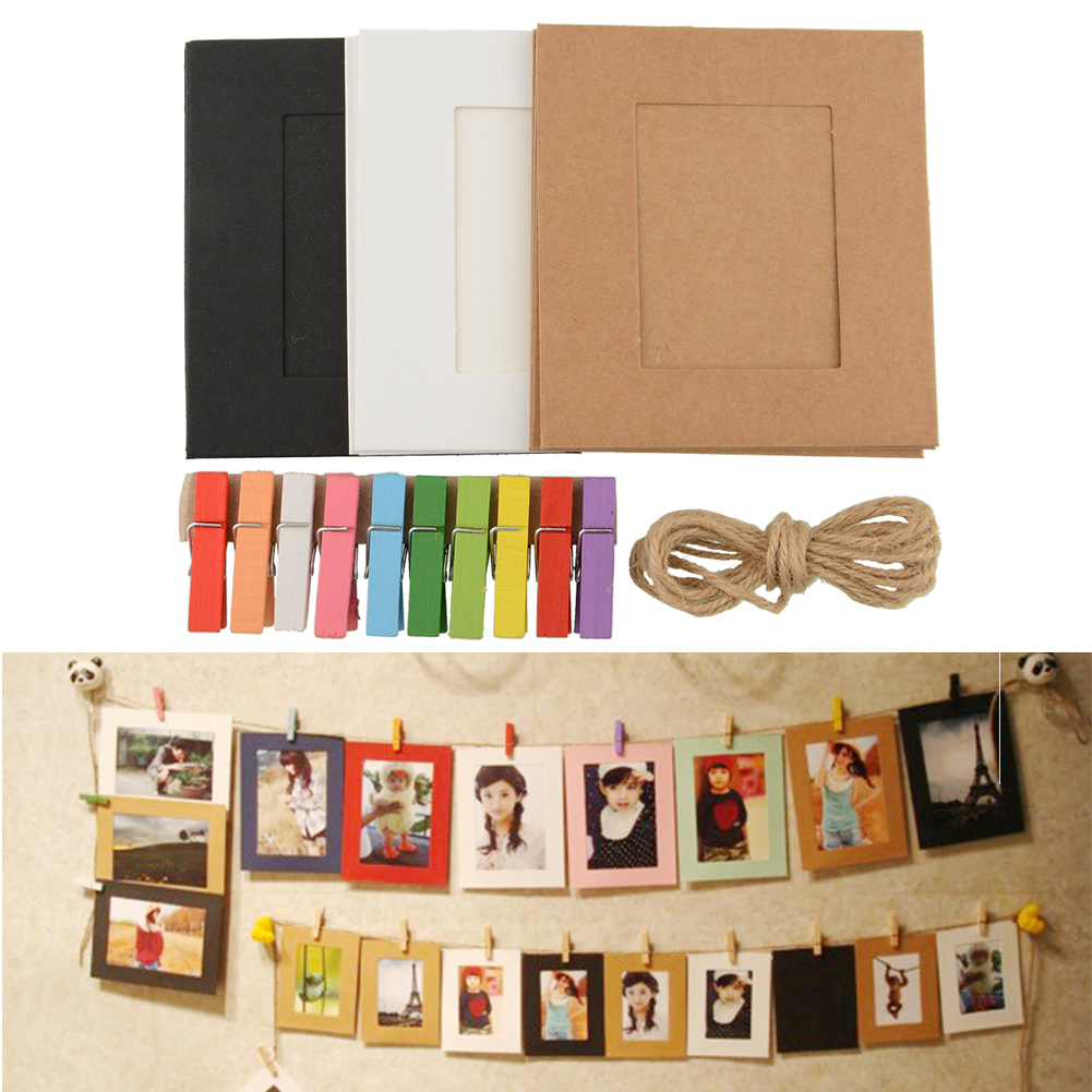 10x paper photo frame diy wall picture hanging album frame gallery with hemp rope clips drop