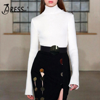 INDRESSME 2019 New Women Sexy White Casual Long Sleeve Office Lady Turtleneck Sweater Fashion Chic Vintage Top With Bead Runway