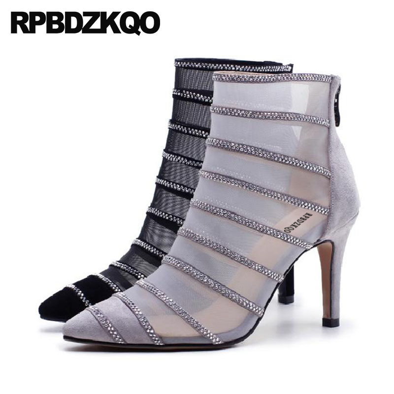 Detail Feedback Questions about Pointed Toe High Heel Designer Shoes Women  Luxury 2018 Ankle Rhinestone Grey Mesh Stiletto Boots Booties Brand Sexy  Sandals ... 34ac61395fca