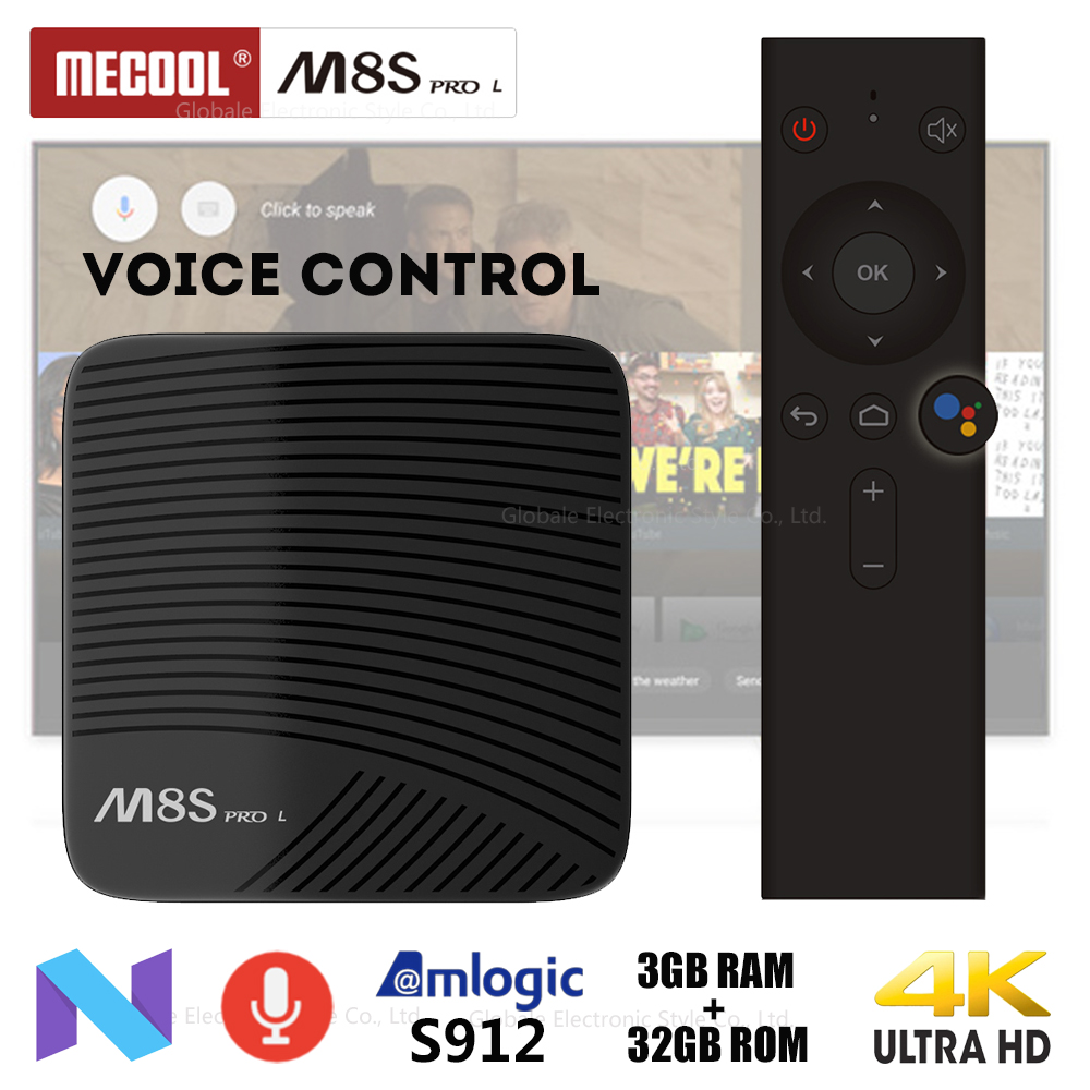 Mecool M8S PRO L Voice Control Smart TV Box Android 7.1 Amlogic S912 Octa Core Bluetooth 4K Set-top Box HDMI 3GB 32GB mecool m8s pro l 4k tv box android 7 1 smart tv box 3gb 16gb amlogic s912 cortex a53 cpu bluetooth 4 1 hs with voice control