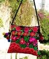 Nacional tendência de venda Quente Artesanal bordado bolsa Étnica Mulheres Pompom Pequena cruz-corpo saco saco Do Mensageiro Do Ombro
