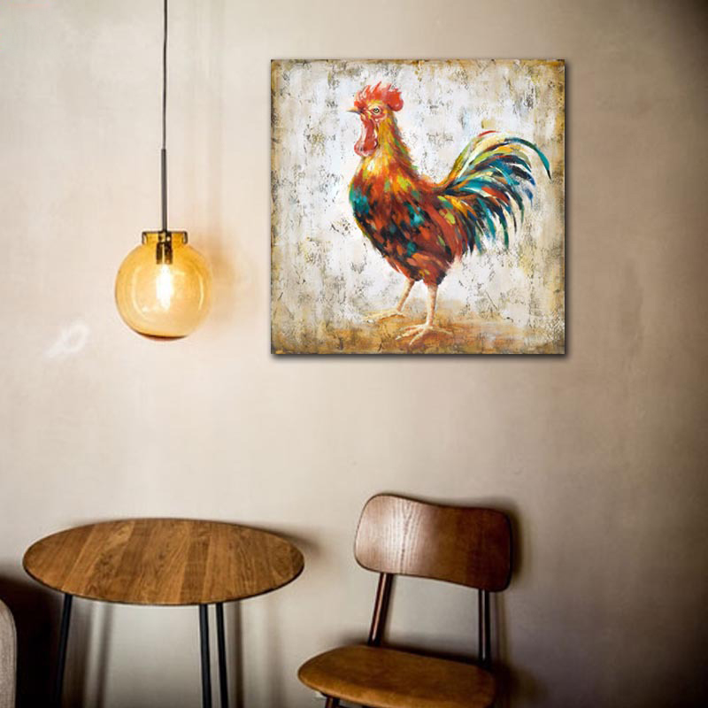 2016 Confetti <font><b>Rooster</b></font> Chicken Wall Art Handmade Oil Painting Canvas Big Size For <font><b>Home</b></font> Lliving Room Bedroom <font><b>Decoration</b></font>