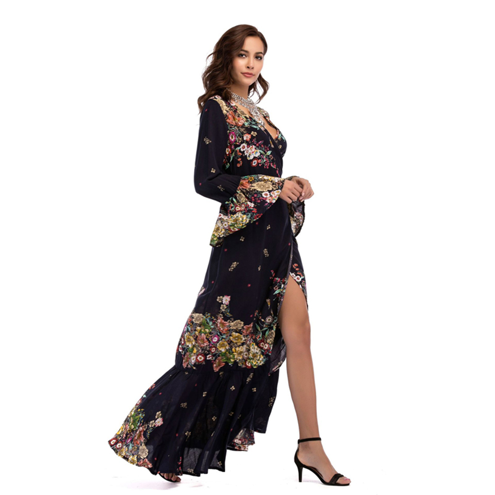 9350a58d7426 Dress 2018 Bohemian Fashion Beach Robe Elegant Maxi Vintage Vestidos Casual  Clothes Sexy Style Summer Print Long Women Dress-in Dresses from Women s ...