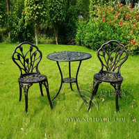 3 piece of Aluminum Bistro Set In Antique Copper chairs and table for Garden with Tulip design