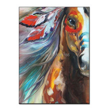 купить Hand-painted indian horse Oil Painting on Canvas indian feather canvas wall art for living room decoration Artist directly по цене 2865.77 рублей