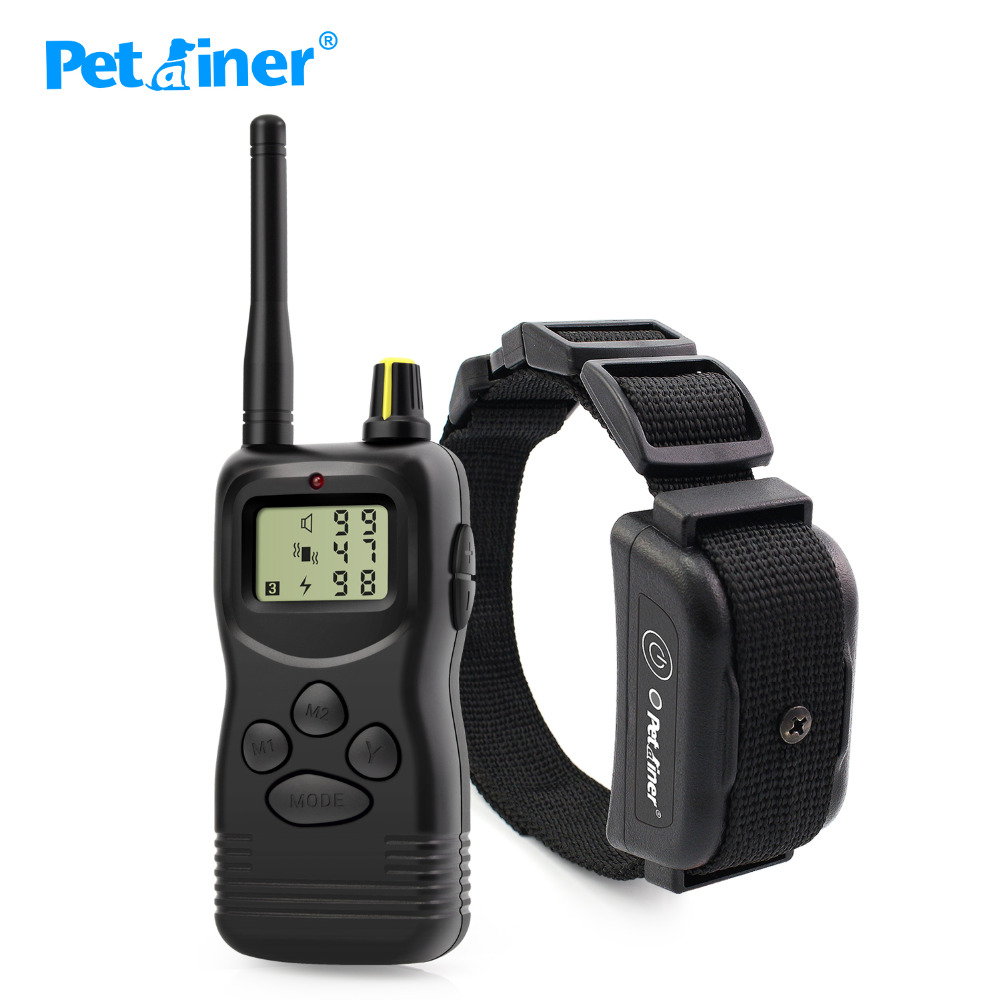 Petrainer New 1000M Electric Dog Training Collar Pet Remote Control Waterproof Rechargeable With LCD Display For All Size