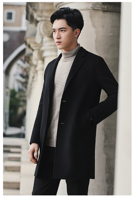 In the fall and winter of 2019 men's double? Long woolen cloth coat, no cashmere wool trench coat