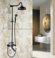 Black Oil Rubbed Brass Bathroom Shower Faucet Set Dual Handle 8 Rainfall Shower System with Tub Spout + Handshower Nhg623
