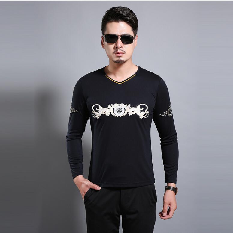 Nouveau imprimé à manches longues T-shirt de poils de lapin avec lapin cheveux, loisirs tricot, et v-cou vêtements pour hommes