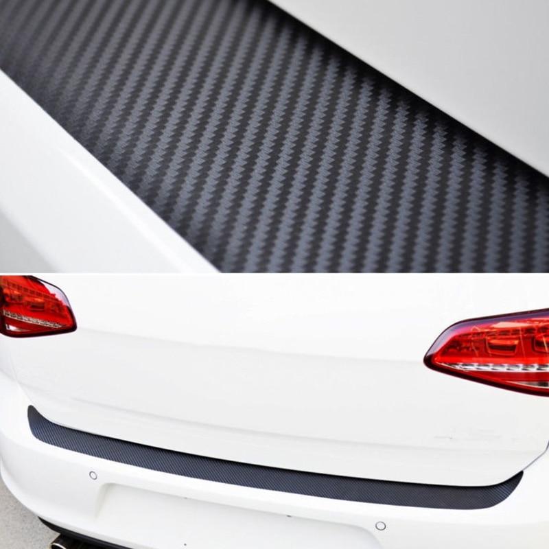Auto Rear Bumper Trunk Tail Lips Protection Car Decal Sticker 4D Carbon Fiber