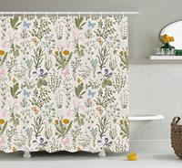 꽃 샤워 커튼 빈티지 정원 식물 허브 꽃 식물 클래식 디자인