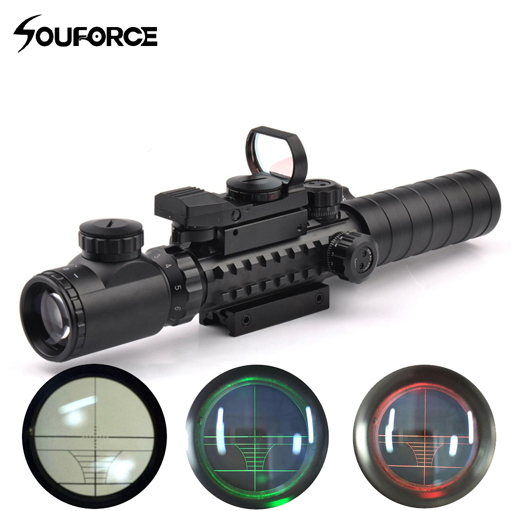 Tactical Scope Combo 3-9X32YG Riflescope with Long Range Red Dot Laser and Holographic Reflex Sight for Rifle and Airsoft image