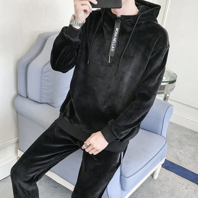 Men Two Piece Velvet Tracksuit Warm Soft Hooded Sportswear Long Sleeve Tops And Pants Bodysuit Suit