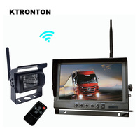 2.4GHz Wireless Parking Reverse System Receiver with 18 LED IR Backup Rearview Camera and 9 inch LCD Monitor for Truck Bus RV