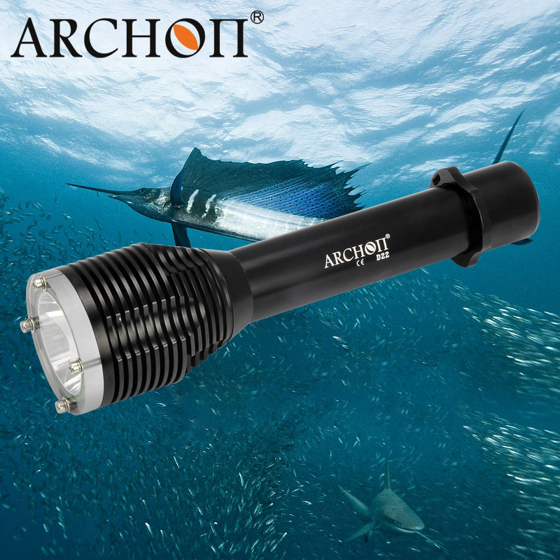 ARCHON D22 T6 LED Diving Flashlight 100 Meter Underwater Torch LED Light Waterproof for Divers Night Dive archon d22 ii diving flashlight d22 ii l2 u2 led 1200 lumens 100m underwater d22 w28 upgraded version 100