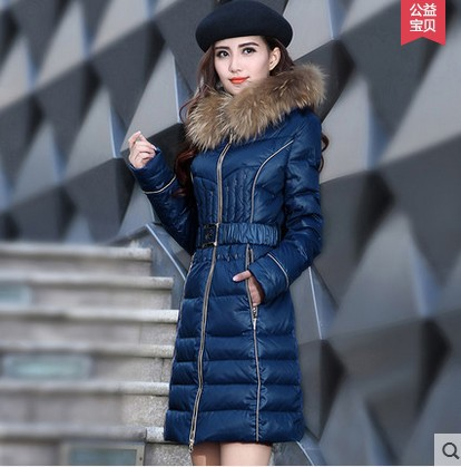 2017 new winter white duck coat women long slim 100% real raccoon fur plus size M-3XL lady thick warm jacket XQ440