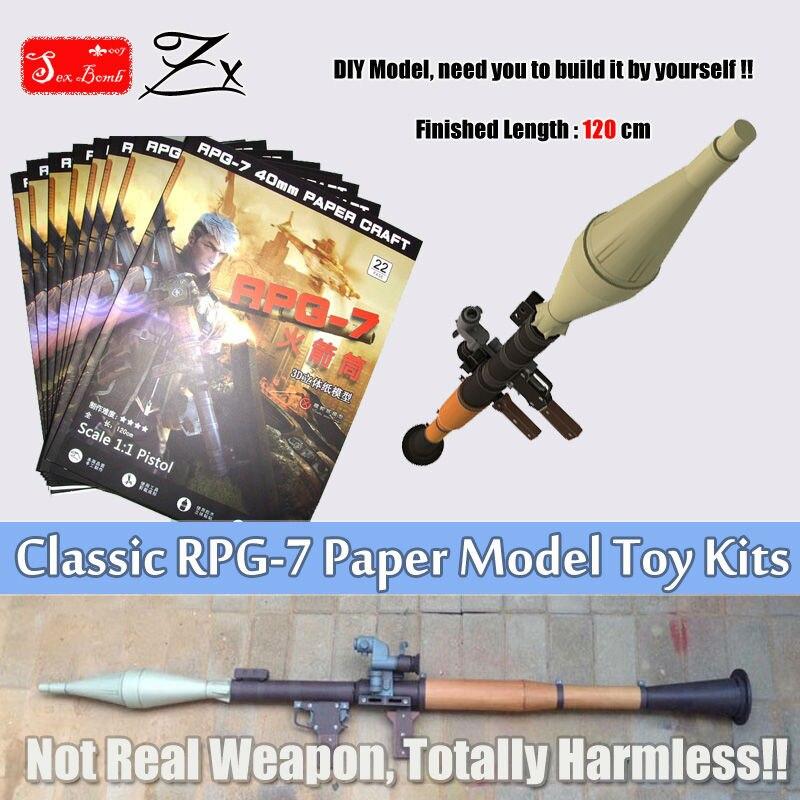 2017 nueva escala RPG-7 cohete lanzador Bazooka 3D arte de papel modelos juguete DIY hecha a mano montado Cosplay arma Juguetes