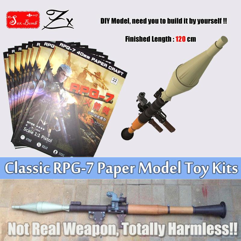2017 New Scaled RPG-7 Pelancar Roket Bazooka Model Kertas Kertas 3D - Barang-barang untuk cuti dan pihak