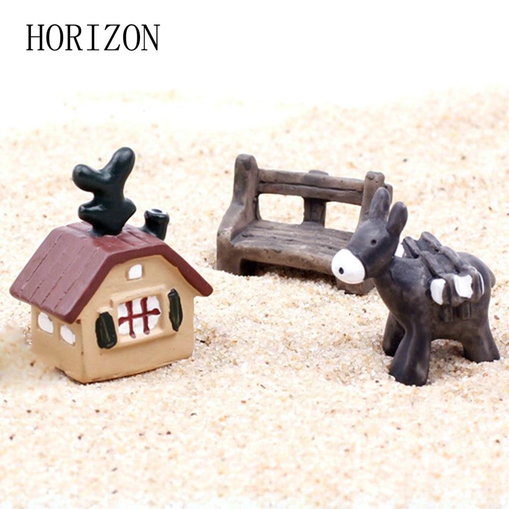 1 Set/3pcs Artificial Miniature House Bench Donkey Set Model Micro Landscape Ornaments Home Garden Decoration