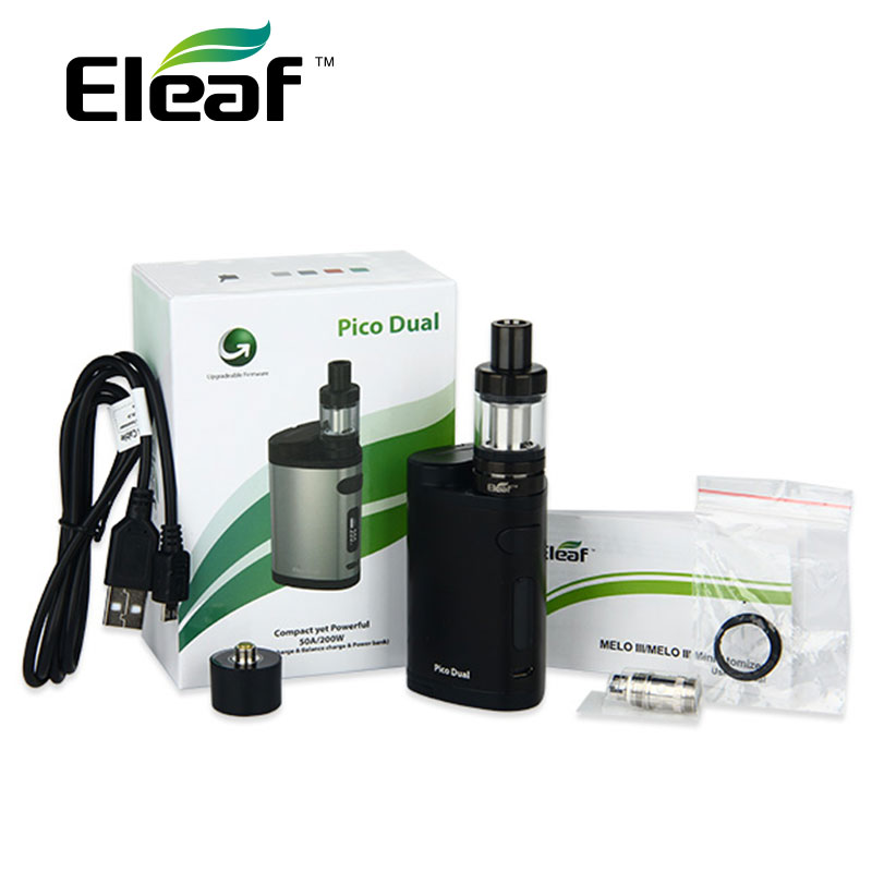 Clearance 100% Original 200W Eleaf Pico Dual TC Vaping Kit 2ml MELO 3 Mini Atomizer Tank W/ Pico Dual Box Vaping  Kit For Vapor