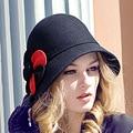 2016 Nova Lady Fedoras Cúpula Chapéu De Lã Mulheres Cap Fishman Outono Inverno Elegante Britânico Chapéu Do Partido Headwear Feminino B-1932