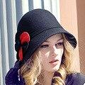 2016 Nueva Señora Cúpula de Ala del Sombrero de Lana de Las Mujeres Fishman Cap Otoño Invierno Elegante Partido Británico Sombrero Sombrerería Femenina B-1932