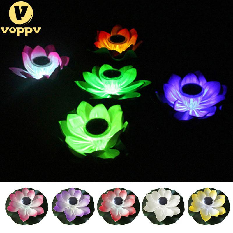 VOPPV Practical Garden Pool Floating Lotus Solar Light Night Flower Lamp for Pond Fountain Decoration Solar Lamps JK1497