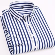 Man Shirt Striped Long Sleeves Mens Casual Shirts Spring Autumn Male Tops Plus Size 2019 Men Clothing Top
