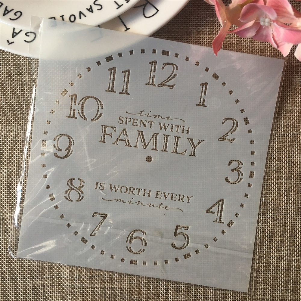 6*6inch Clock Words Dial DIY Layering Stencils Painting Scrapbook Coloring Embossing Album Decorative Card Template