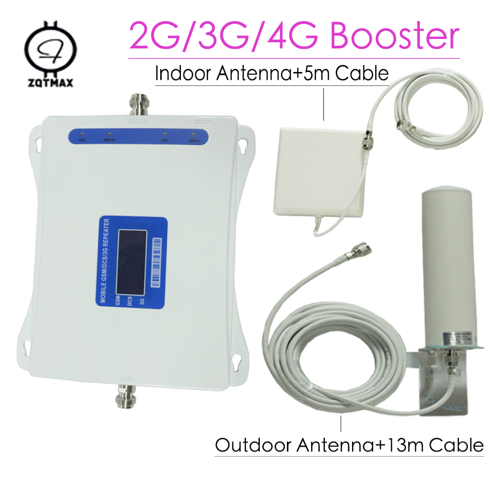 ZQTMAX 2G 3G 4G Cellular Amplifier Repeater GSM 900+DCS/LTE 1800+WCDMA/UMTS 2100 Mobile Signal Booster+Panel Antenna Set