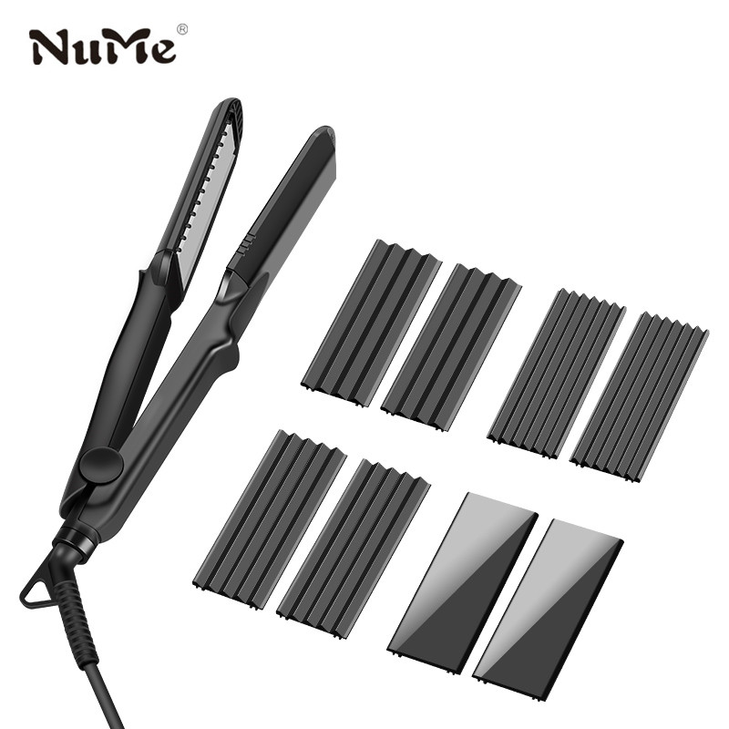 4 in 1 Hair Curler Negative Ions Hair Straightener 4 Interchangeable Plates Ceramic Flat Iron Corrugation Curling Iron styling titanium plates hair straightener lcd display straightening iron mch fast heating curling iron flat iron salon styling tools