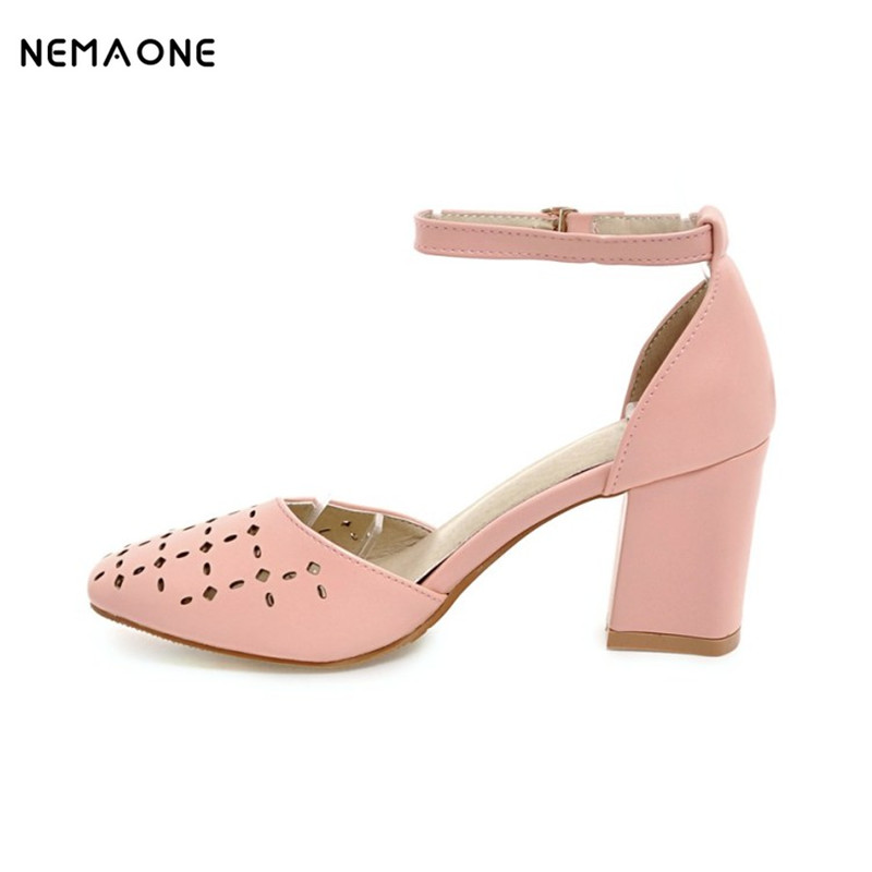 NEMAONE 2017 sexy women shoes square toe women pumps high heels shoes woman ankle strap summer shoes large size 34-43