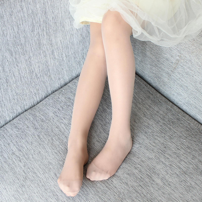 Summer New Children Girls Stockings Sheer Silk Ballet Stockings Transparent Pantyhose Candy Color White Flesh For Kids Toddler
