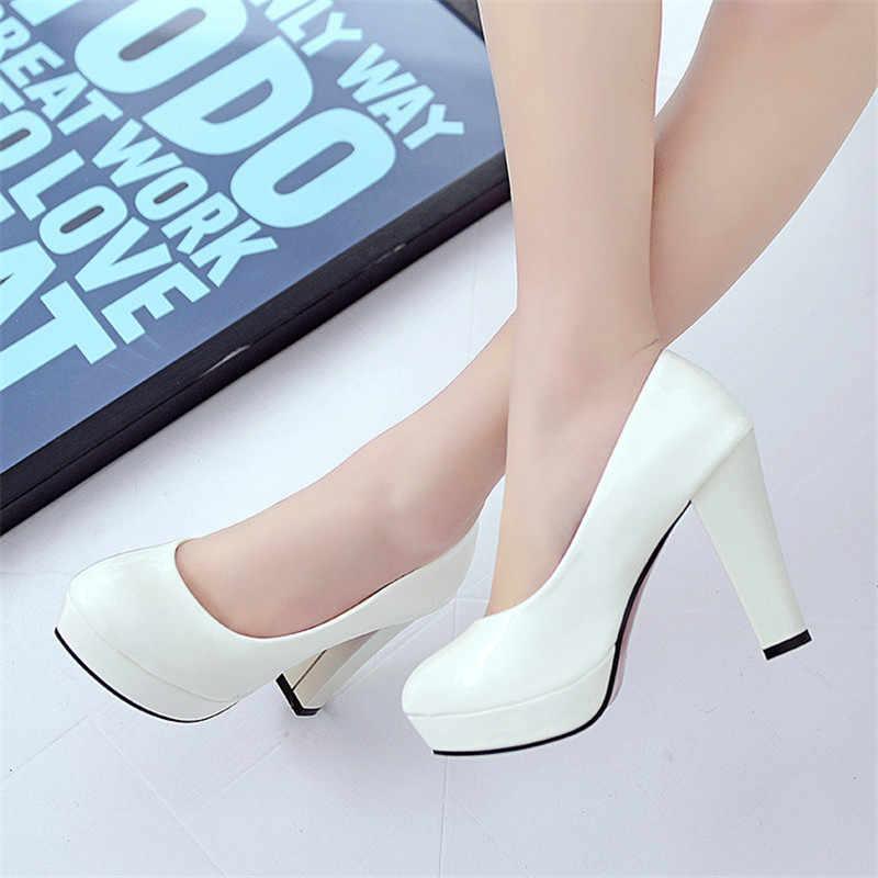 Vrouwen Pompen Mode Klassieke Lakleder Hoge Hakken Schoenen Naakt Scherpe Hoofd Paltform Bruiloft Vrouwen Kleding Schoenen Plus Size 34 -42