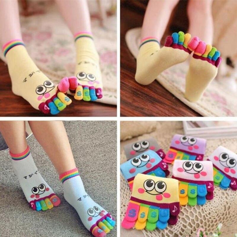 IOLPR Japanese women Toe Socks Girl Smile Face Cute Funny Five Fingers socks Kawaii Rainbow Color Toe Casual Ankle cat Socks in Socks from Underwear Sleepwears