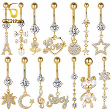 Gold Color Navel Earrings for Belly Button Piercing Surgical Steel Rings Body
