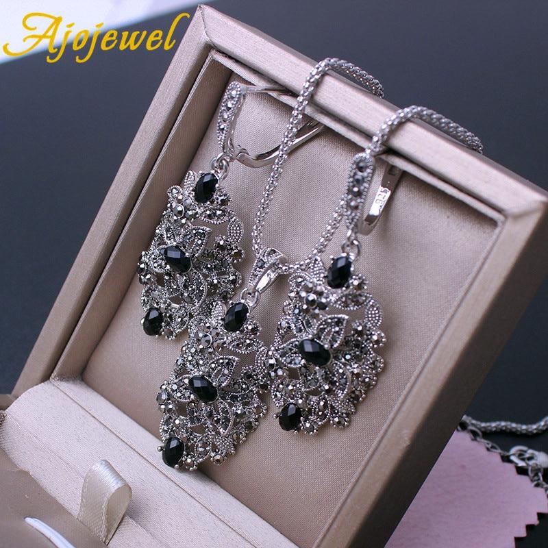 Image 2 - Ajojewel Brand Vintage Jewelry Sets For Women Black Crystal Hollow Flower Necklace Earrings Ring JewerlyJewelry Sets   -