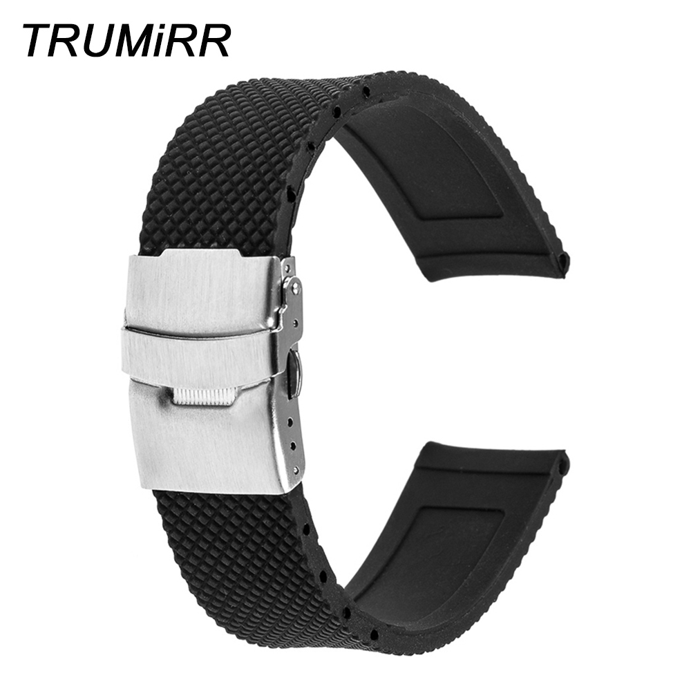 22mm Silicone Rubber Band Stainless Steel Buckle Strap Bracelet For Samsung Galaxy Gear 2 R380 R381 R382 Moto 360 2 46mm 2015